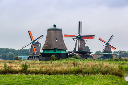 zaanse: Wind mills in Zaanse Schans, Netherland. Holland Stock Photo