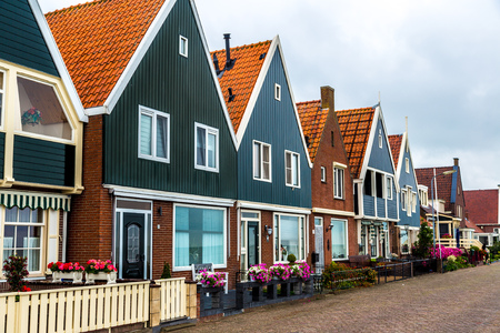 Traditional houses in Holland town Volendam, Netherlands photo