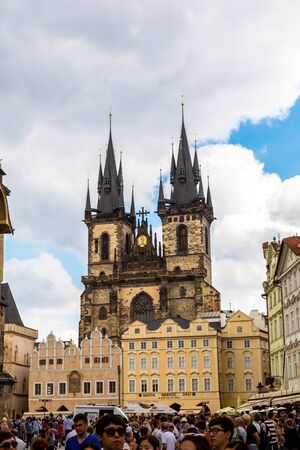 old town square: PRAGUE - July 21: Church of Our Lady on July 21, 2014 in Prague. Old Town Square is a historic square in the Old Town quarter of Prague in the Czech Republic. Editorial