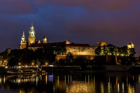 krakow: Krakow at night. Wawel Castle and Wistula. Krakow Poland.