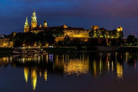 wawel: Krakow at night. Wawel Castle and Wistula. Krakow Poland.