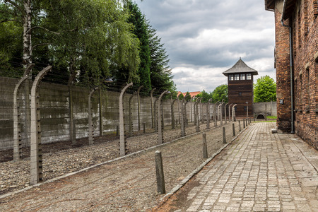 German concentration camp Auschwitz in Poland in summer day