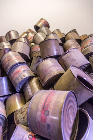 oswiecim: OSWIECIM, POLAND - JULY 22: Empty cans of Cyclon B gas in Auschwitz. It is the biggest nazi concentration camp in Europe on July 22, 2014 in Oswiecim, Poland