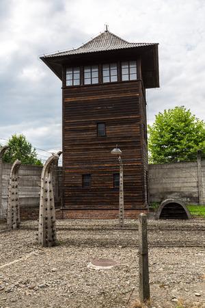 annihilation: German concentration camp Auschwitz in Poland in summer day Editorial