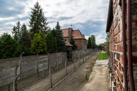 barracks: German concentration camp Auschwitz in Poland in summer day Editorial