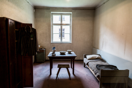 annihilation: OSWIECIM, POLAND - JULY 22: Exhibition in Concentration camp in Auschwitz. It is the biggest nazi concentration camp in Europe on July 22, 2014 in Oswiecim, Poland