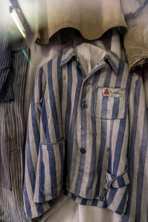 oswiecim: OSWIECIM, POLAND - JULY 22: Exhibition with prisoners clothes in Auschwitz. It is the biggest nazi concentration camp in Europe on July 22, 2014 in Oswiecim, Poland Editorial