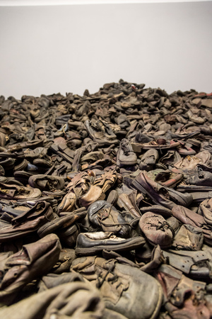 oswiecim: OSWIECIM, POLAND - JULY 22: Boots of victims in Auschwitz. It is the biggest nazi concentration camp in Europe on July 22, 2014 in Oswiecim, Poland Editorial
