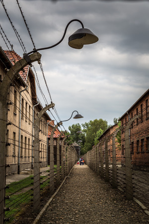 death camp: German concentration camp Auschwitz in Poland in summer day Editorial