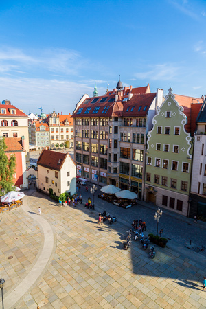 WROCLAW, POLAND - JULY 29: City center and Market Square in Wroclaw, Poland on July 29, 2014. Wroclaw old and a very beautuful city in Poland