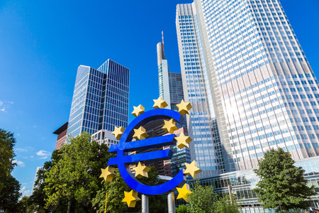 Euro sign. European Central Bank headquarters in Frankfurt in Germany  in summer day
