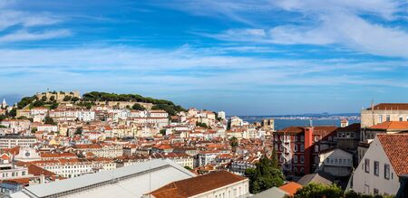 jorge: Panoramic aerial view of Lisbon, Portugal. Sao Jorge Castle