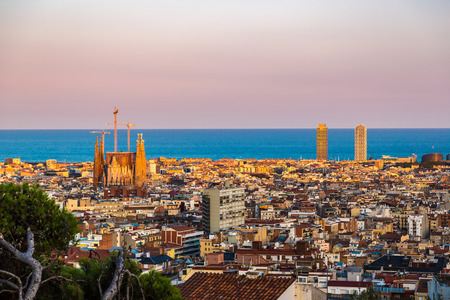 Panoramic view of Barcelona from Park Guell in a summer day in Spain Reklamní fotografie - 38063568