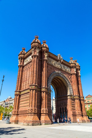 Triumph Arch of Barcelona in a summer day in Barcelona, Spain