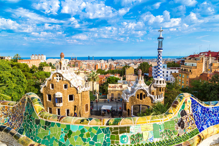 Park Guell by architect Gaudi in a summer day  in Barcelona, Spain. Редакционное
