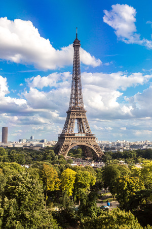 Aerial view of the Eiffel Tower in Paris, France in a beautiful summer day photo
