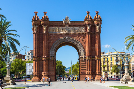 BARCELONA, SPAIN - JUNE 11: Triumph Arch of Barcelona in a summer day in Barcelona, Spain Editorial