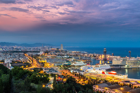 barcelona: Panoramic view of Barcelona and port in Spain Stock Photo