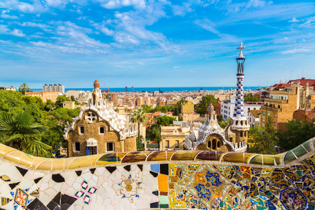 barcelona: Park Guell by architect Gaudi in a summer day  in Barcelona, Spain. Editorial