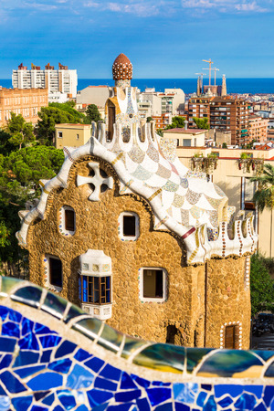 gaudi: Park Guell by architect Gaudi in a summer day  in Barcelona, Spain. Editorial