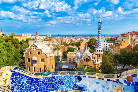 Park Guell by architect Gaudi in a summer day  in Barcelona, Spain. 新闻类图片