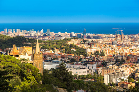 Panoramic view of Barcelona from Park Guell in a summer day in Spain Фото со стока