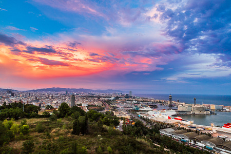 aerial: Panoramic view of Barcelona and port in Spain Stock Photo