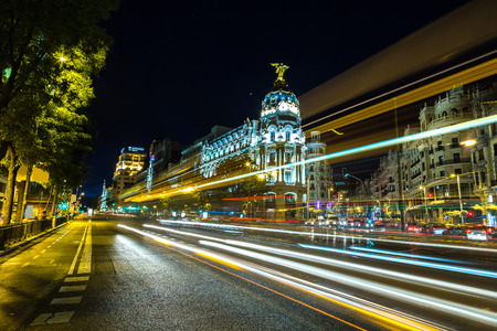 Metropolis hotel in Madrid in a beautiful summer night Stock Photo