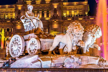 cibeles: Cibeles fountain at Plaza de Cibeles in Madrid in a beautiful summer night, Spain Editorial