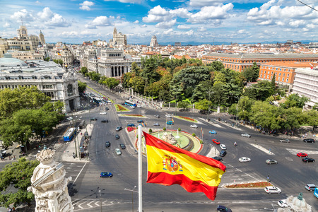 flag of spain: Aerial view of Cibeles fountain at Plaza de Cibeles in Madrid in a beautiful summer day, Spain Stock Photo