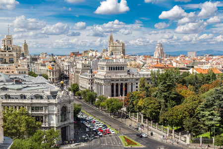 Aerial view  Plaza de Cibeles in Madrid in a beautiful summer day, Spain