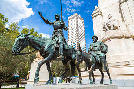 Statues of Don Quixote and Sancho Panza at the Plaza de Espana in Madrid, Spain Editorial