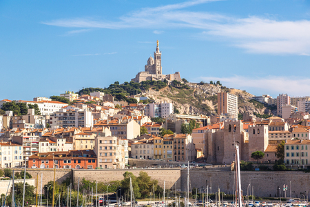 garde: Aerial panoramic view on basilica of Notre Dame de la Garde and old port  in Marseille, France Stock Photo