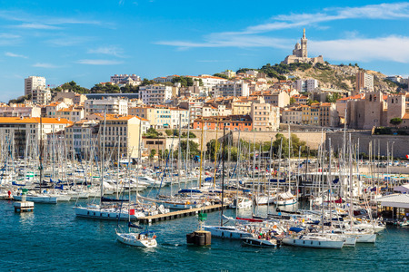 Aerial panoramic view on basilica of Notre Dame de la Garde and old port  in Marseille, France Stock Photo