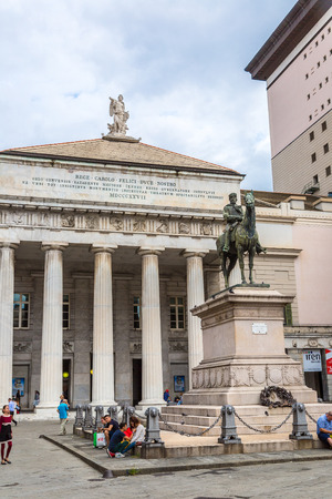 garibaldi: GENOA, ITALY - AUGUST 11: Garibaldi statue and opera theater in a summer day in Genoa, Italy on August 11, 2014 Editorial