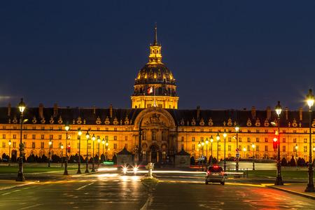Les Invalides at summer night in Paris, France
