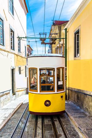 gloria: The Gloria Funicular in the city center of Lisbon Editorial