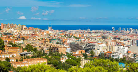 barcelona: Panoramic view of Barcelona from Park Guell in a summer day in Spain Stock Photo