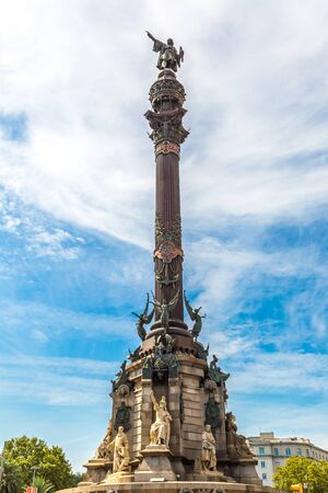 Monument of Christopher Columbus in Barcelona in Spain photo