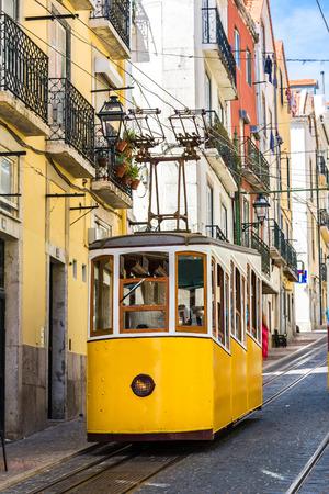 gloria: The Gloria Funicular in the city center of Lisbon Stock Photo