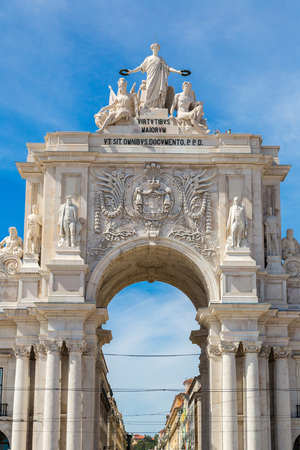 Triumphal augusta arch in Lisbon in a beautiful summer day photo