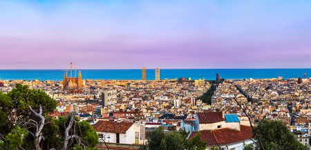 Panoramic view of Barcelona from Park Guell in a summer day in Spain photo