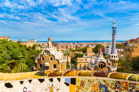 Park Guell by architect Gaudi in a summer day  in Barcelona, Spain. 写真素材