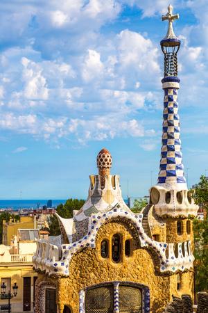 barcelone: Parc Guell par l'architecte Gaudi dans un jour d'�t� � Barcelone, Espagne.