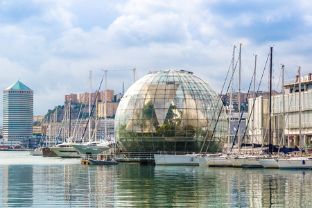 biosphere: Biosphere (Glass sphere) diameter is about 20 meters in a summer day in Genoa, Italy