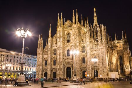 MILAN, ITALY - JULY 12, 2015: Famous Milan Cathedral, Duomo in a beautiful summer night on July 12, 2014 in Milan, Italy.