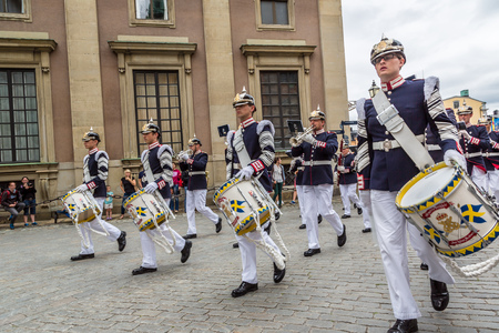 STOCKHOLM, SWEDEN - JUNE 14: Royal Swedish Army Band performing to celebrate the birthday of Victoria, Crown princess of Sweden, on June 14, 2014 in Stockholm.