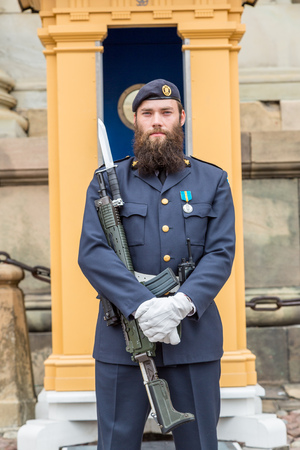 STOCKHOLM, SWEDEN - AUG 25,2014:Royal Guards,Main Guard at Palace is carried out by units of Swedish Armed Forces.It is King of Sweden guard of honour and is responsible for protection of Royal Family