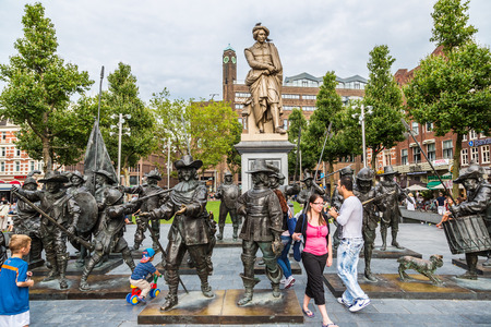 rembrandt: AMSTERDAM, NETHERLANDS - AUGUST 19: Rembrandt statue on Rembrandtplein in Amsterdam. Amsterdam is the capital and most populous city of the Netherlands on August 19, 2014 Editorial