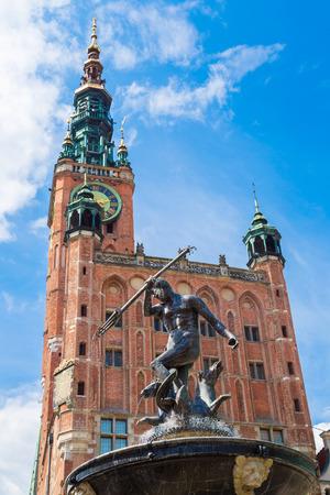 neptun: Fountain of Neptune on the Dlugi Targ Street in Gdansk, Poland Stock Photo
